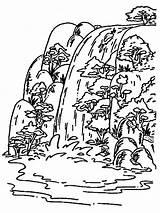 Waterfall Coloring Nature Printable Adult Ausmalbilder Wasserfall Ausdrucken Malvorlagen Kostenlos Zum sketch template