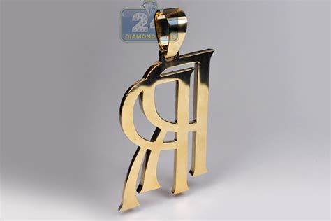 mens diamond rolls royce rr logo pendant  yellow gold