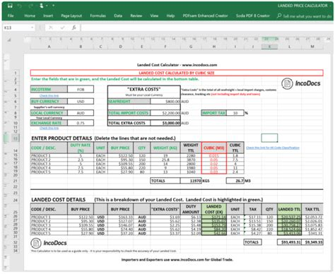 calculate  landed cost  imported goods price