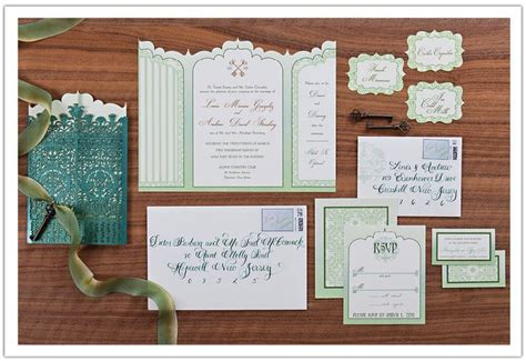 secret garden wedding invitations featuring green ombre