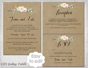 diy wedding invitations templates rustic wedding invitation templates diy quot rustic flowers quot printable wedding invitation template