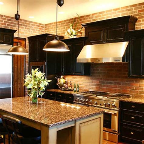 dark cabinets  granite  brick dream kitchen
