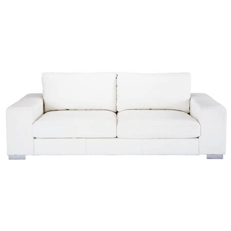 canapé 3 4 places en cuir blanc york maisons du monde