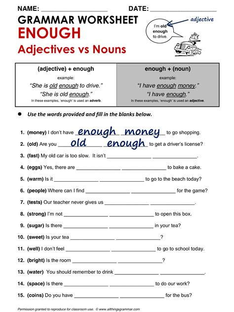 English Grammar Enough (adjectives Vs Nouns) Wwwallthingsgrammarcomtooandenoughhtml