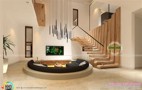 sunken seating bedroom   home interios kerala home design  floor plans