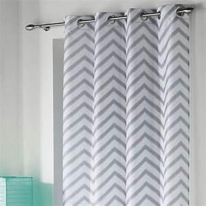 Rideau Gris Et Blanc : rideau 140 x h260 cm zigzag blanc rideau tamisant eminza ~ Teatrodelosmanantiales.com Idées de Décoration