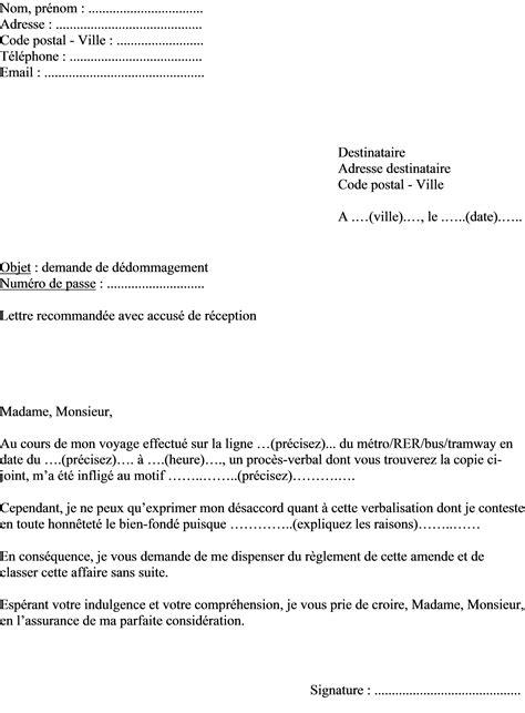 lettre type contestation amende mod 232 le de lettre contestation et d annulation d une amende ratp