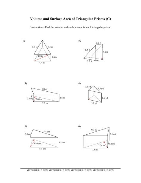 volume and surface area of triangular prisms c worksheet