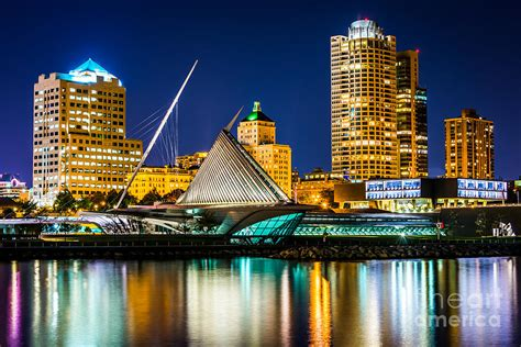 Picture Of Milwaukee Skyline At Night Photograph by Paul
