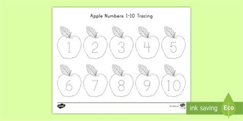Apple Numbers 1 - 10 Tracing Worksheet / Worksheet