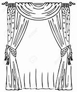 Curtains Curtain Window Clip Vector Illustration Coloring Drawing Stage Clipart Sketch Drawings Getdrawings Drawn Drapes Template Illustrations Depositphotos Royalty Drapery sketch template