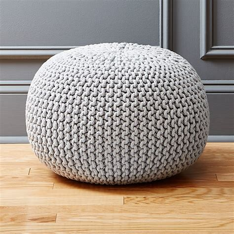 knitted ottomans knitted silver pouf cb2