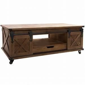table basse industriel en bois et metal avec des portes With tapis de course avec canapé convertible 120 cm de large