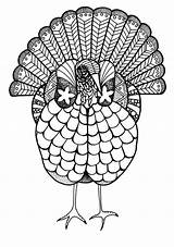 Coloring Adult Turkey Pages Thanksgiving Colorful Printable Colouring Books Fall Print sketch template