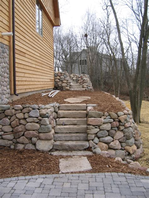 stone steps retaining wall installation landscape