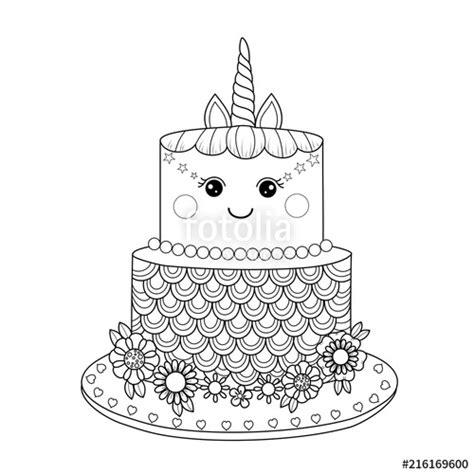 unicorn cake coloring book  adult vector illustration handdrawndoodle style stock image