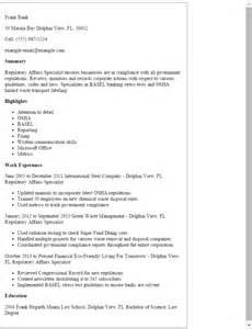 regulatory affairs resume sles professional regulatory affairs specialist templates to showcase your talent myperfectresume