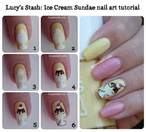 ice cream sundae nail art manicure  tutorial part