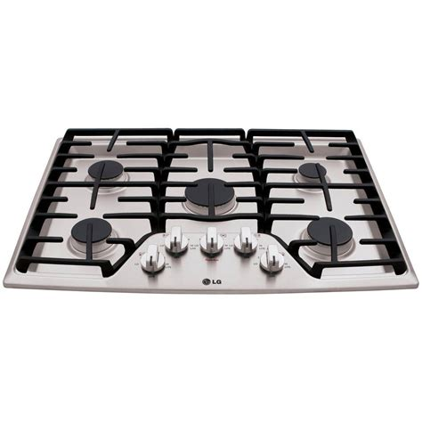 stainless steel gas cooktop lg electronics 30 in recessed gas cooktop in stainless