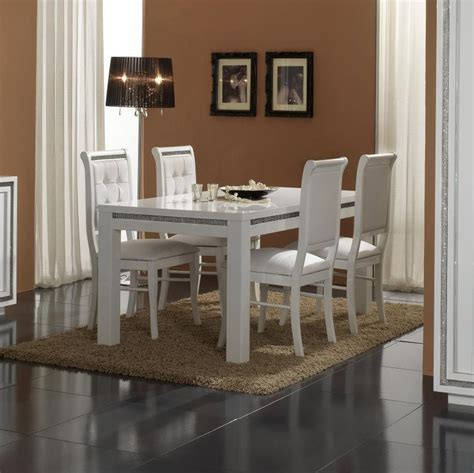 table de salle 224 manger rectangulaire design laqu 233 e blanche perla buffet bahut soldes salle