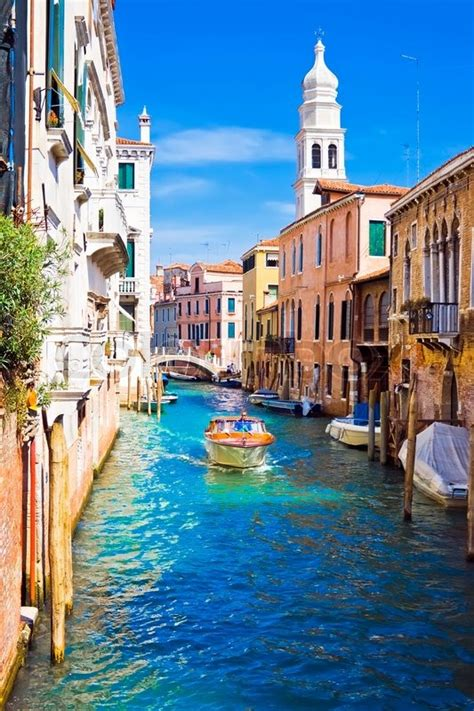 Canal Boat Italy by A Motor Boat In Beautiful Canal Venice Italy Stock