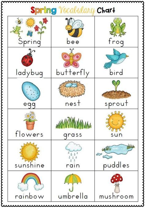 spring themed vocabulary cards with record sheets spring