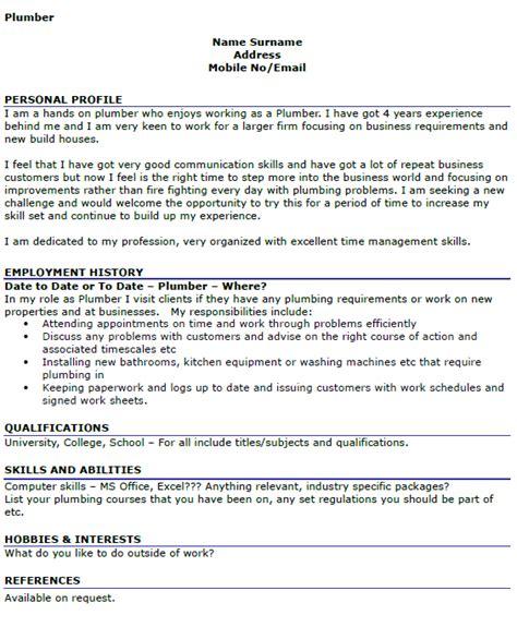 plumber resume cover letter