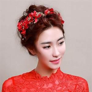 Chinese Bride Wedding Hair Accessories Red Flower Head