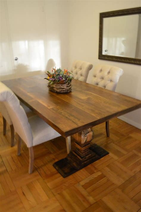 hand crafted  foot dining room table mixed species wood