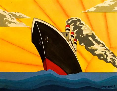 Art Deco Boat Poster by Art Deco Cruise Ship Fitbudha
