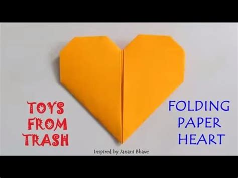 folding paper heart english simple origami youtube
