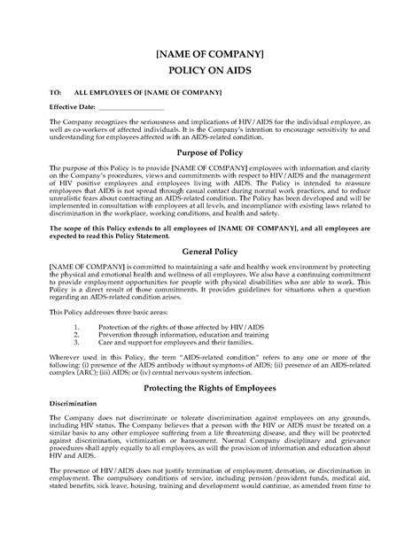 Free Workplace Policy Template by Aids And Hiv Company Policy Statement Forms And