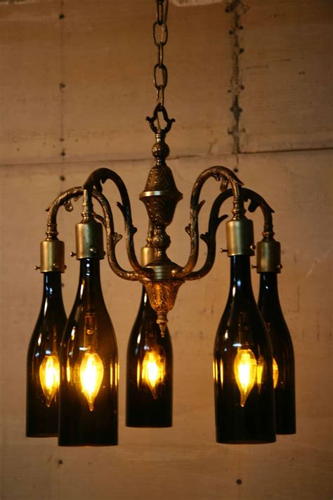 recycled antique chandelier  wine bottles  globes