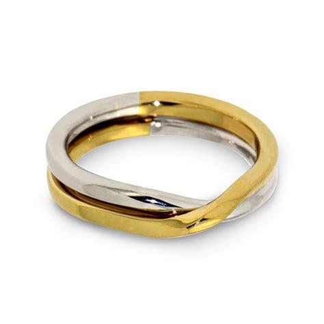 love knot two tone wedding band in 14k gold arosha taglia