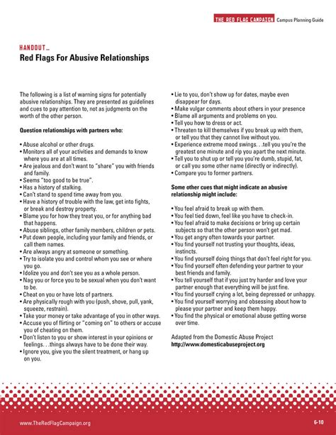 The Red Flag Campaign Printready Handouts