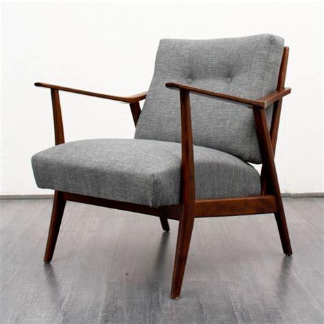 fauteuil relax annee 50 fauteuil vintage en bois et tissu gris chin 233 1950