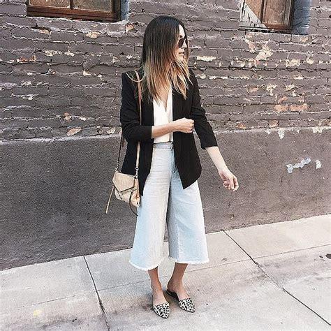 Denim Culotte Outfit Ideas   POPSUGAR Fashion