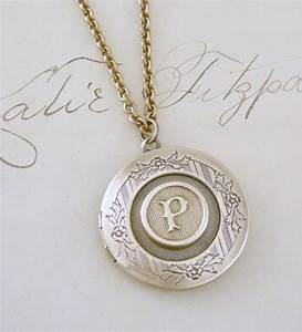 locket necklace initial p letter p vintage brass jewelry With letter p necklace