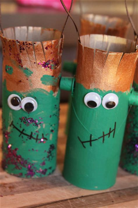 toilet paper roll craft kids halloween frankenstein