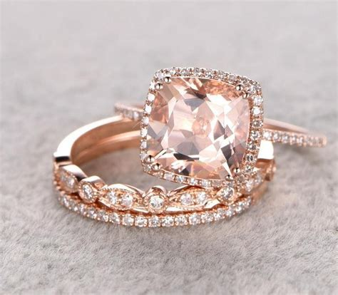 limited time sale 2 carat morganite diamond trio wedding