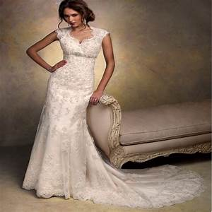 aliexpresscom buy cap sleeves open back lace wedding With vintage wedding gowns for sale