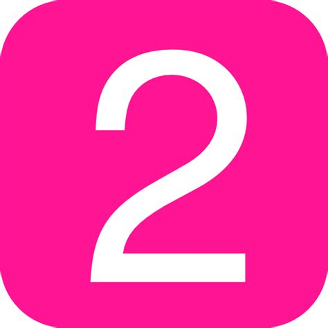 Pink, Rounded, Square With Number 2 Clip Art At Clkercom