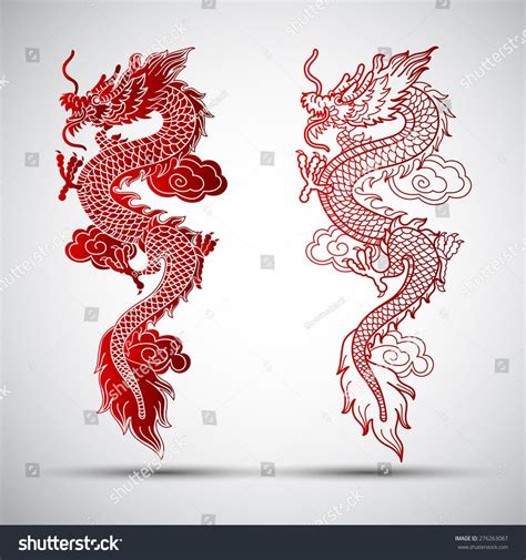illustration  traditional chinese dragon vector