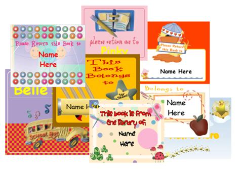 book labels  kids  personalize printable