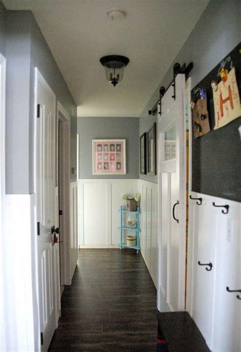 hallway hallway  wainscoting dark gray walls barn
