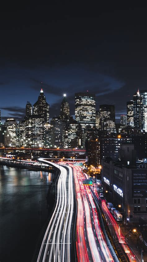 manhattan  york city night cityscape   wallpapers
