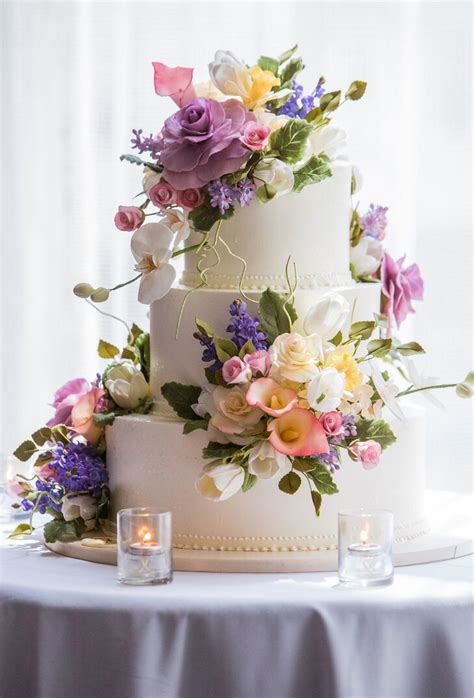 sugar roses peonies  orchid wedding cake decor