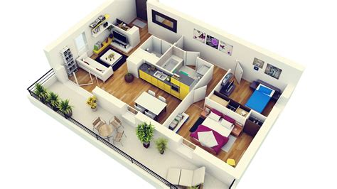 appartement 3 chambres 2 bedroom apartment house plans