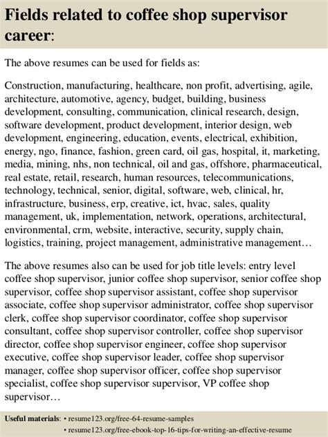 top 8 coffee shop supervisor resume sles