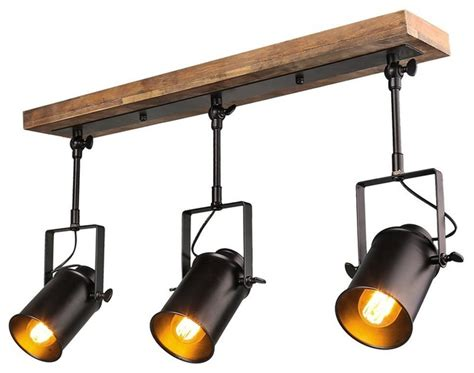 Industrial Style Wood Ceiling Track Lighting Spotlights 3